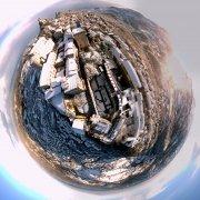 san marino, drone, panoramica, 360 gradi, little planet, pano 360, sapr, riprese aeree, fotografia aerea, inverno, neve, centro storico, palla di natale, natale, tramonto, sfera